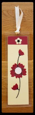 Cream, Raspberry & White Bookmark | Handmade Bookmark with Sand