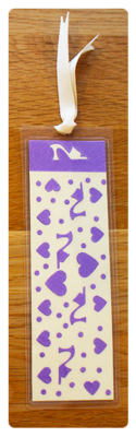 Lavender/Cream Heels & Hearts Handmade Bookmark