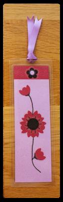 Lilac, Raspberry & Black Flower Bookmark | Handmade Bookmark with Sand