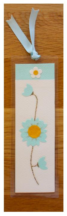 White, Aqua & Gold Bookmark   Handmade Bookmark with Sand