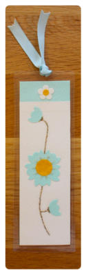 White, Aqua & Gold Bookmark | Handmade Bookmark with Sand