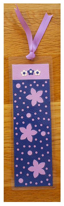 Navy, Lilac & White Handmade Bookmark