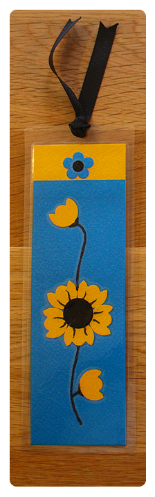 Blue, Gold & Black Bookmark | Handmade Bookmark with Sand