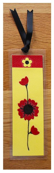 Red, Yellow & Black Bookmark | Handmade Bookmark with Sand