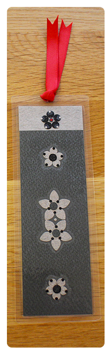 Dark Grey, Light Grey & Black Flower Handmade Bookmark