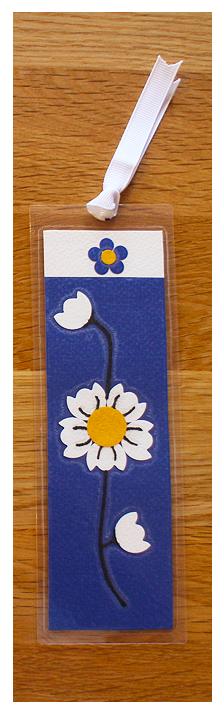 Deep Blue, White & Gold Bookmark   Handmade Bookmark with Sand