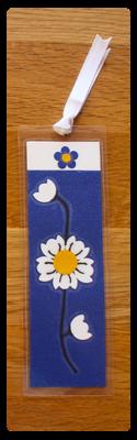 Deep Blue, White & Gold Bookmark | Handmade Bookmark with Sand