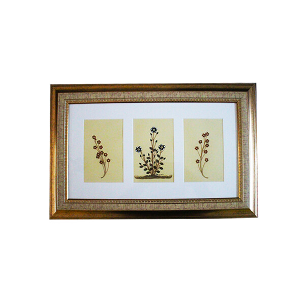 Trio of Flowering Plants and Stems | Handmade Natural Wall Art