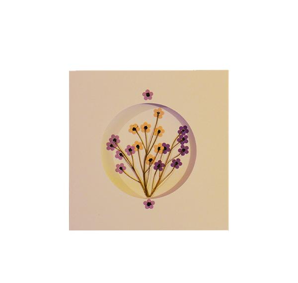 Purple & Yellow Blossoms   Handmade Greeting Card