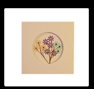 Yellow, Purple & Blue Blossoms | Handmade Greeting Card