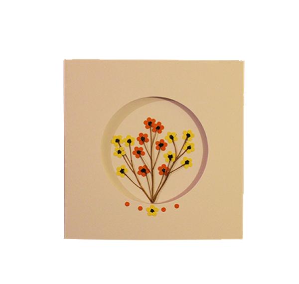 Yellow & Orange Blossoms   Handmade Greeting Card