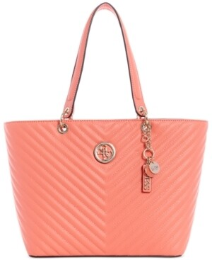Guess Kamryn Coral Quilted Tote Bag