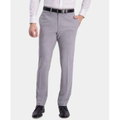 Kenneth Cole Reaction Men's Slim-Fit Performance Stretch Mini-Plaid Dress Pants Size 36x30
