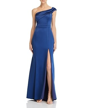 Aqua One-Shoulder Satin Gown Size 12