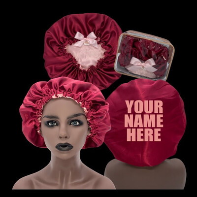 Minovet Satin Bonnet - Deep Red/Pink