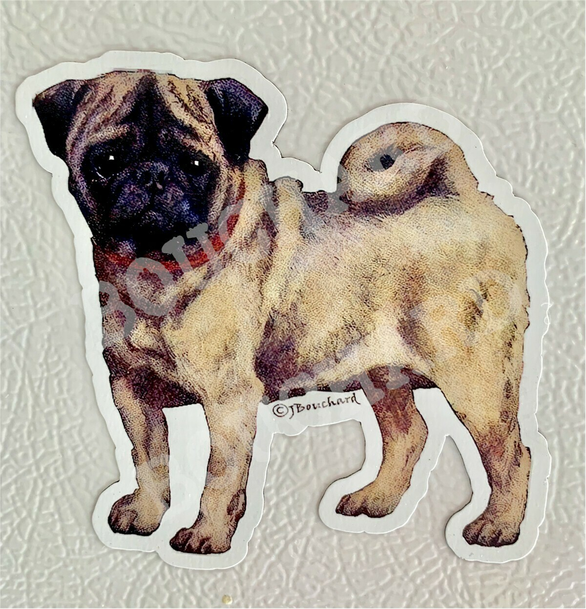 Refrigerator magnets.Pug magnet,Distressed decoupage and hand painting.Large or small to choose.Vintage pug refrigerator magnet.