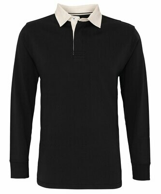 Men's classic fit long sleeved vintage rugby shirt