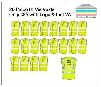 20 Hi Vis Vests with Print on Back only €85.00