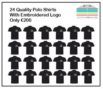24 Polo Shirts With Embroidered Logo