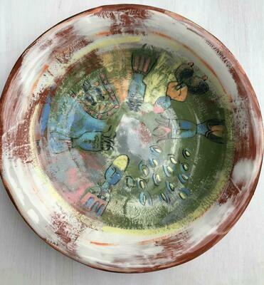 'Enki God' Green Large Plate