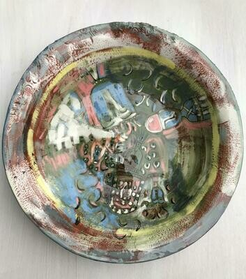 'Enki God' Green and Blue Large Plate