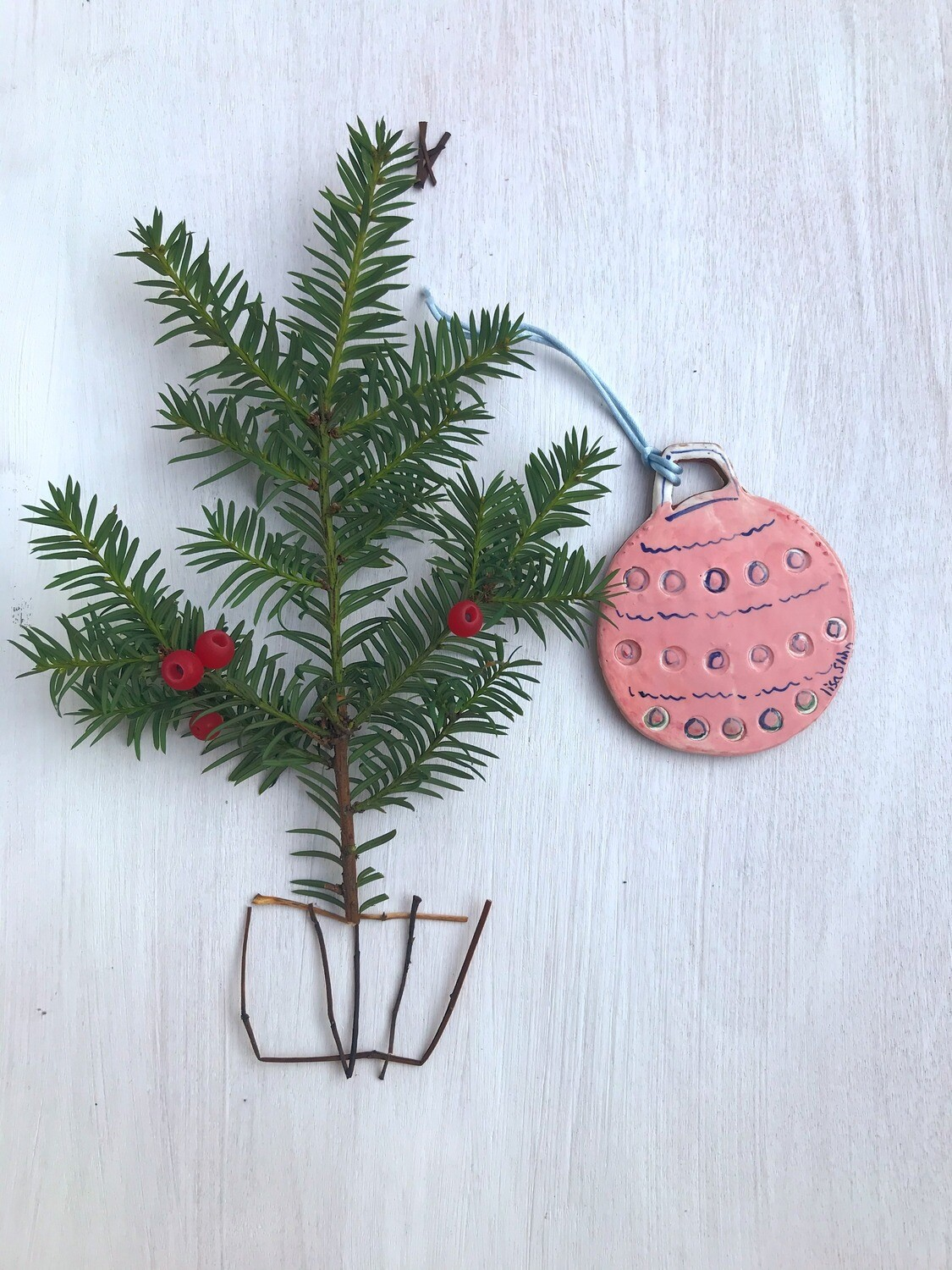Pink Hand-painted Tree Decoration