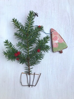 Pink & Green Hand-painted Tree Decoration