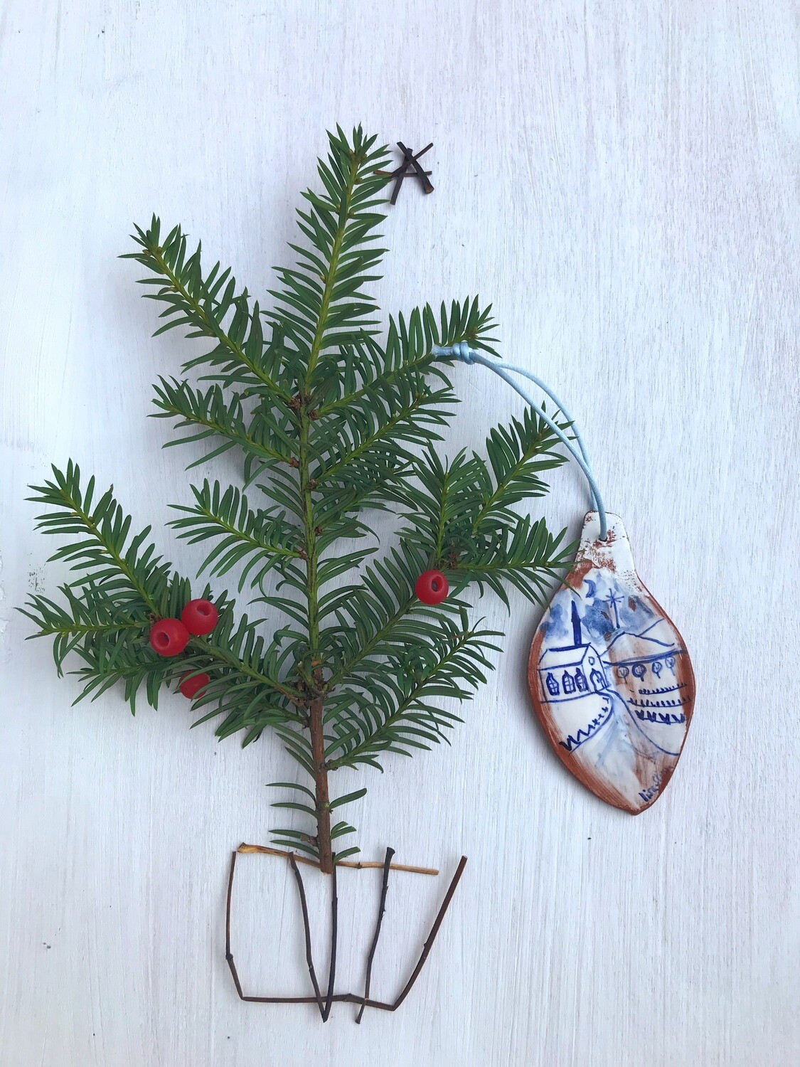 Blue Hand-painted Tree Decoration