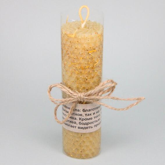 Свеча из вощины с травой Календула 13х3,5см