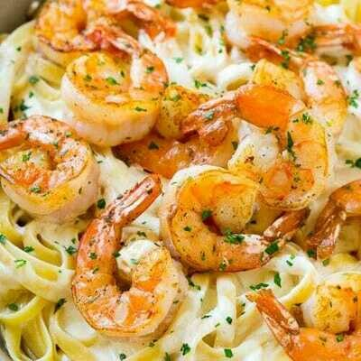 Shrimp Alfredo Bake- Pasta