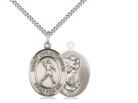 """Sterling Silver St. Christopher Football Sports Medal on a 18"""" Light Rhodium Chain"""
