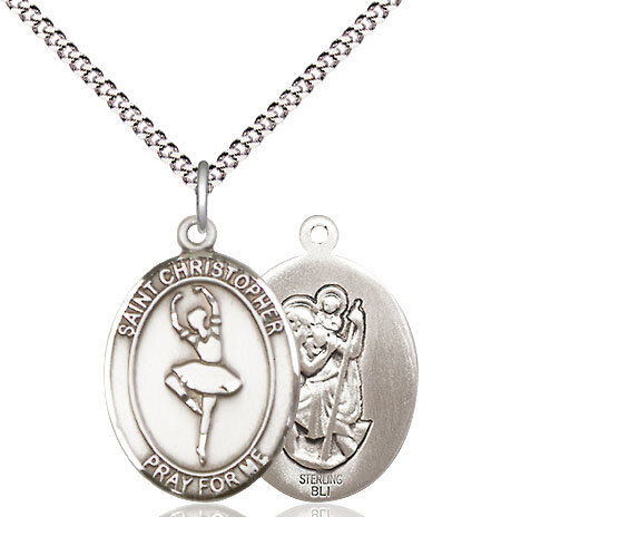 """Sterling Silver St. Christopher Dance Sports Medal on a 18"""" Light Rhodium Chain"""