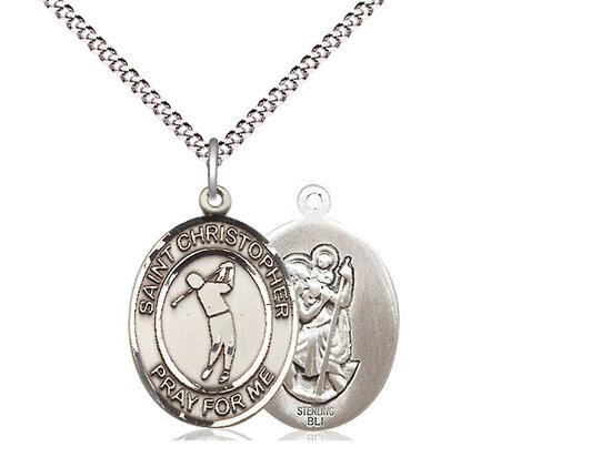 """Sterling Silver St. Christopher Golf Sports Medal on a 18"""" Light Rhodium Chain"""