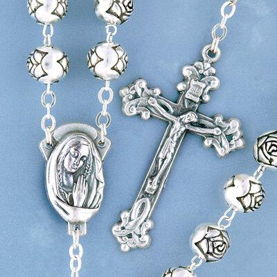 Silver Antique Rosebud Rosary