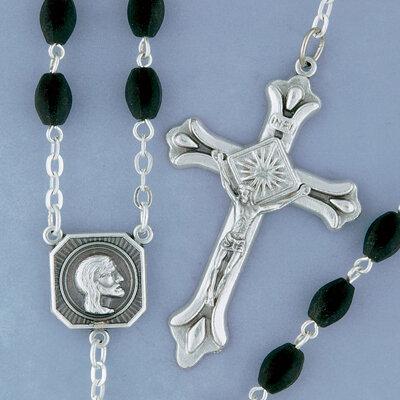 Black Glass Bead Rosary