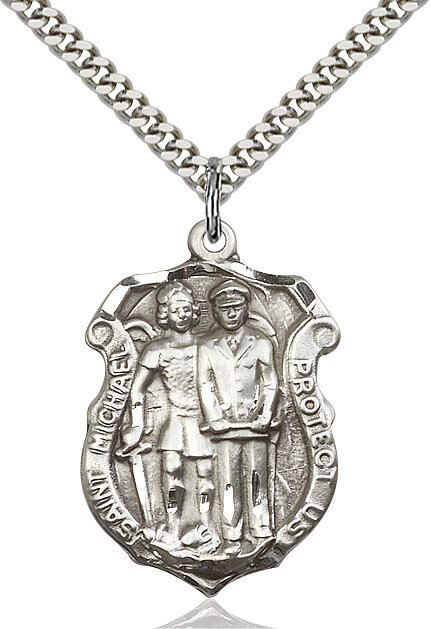"""Sterling Silver St. Michael with Policeman Police Badge (Larger Size) on a 24"""" Light Rhodium Chain"""
