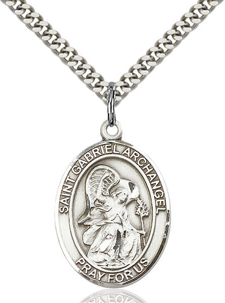 """Sterling Silver St. Gabriel the Archangel Pendant on a 24"""" Light Rhodium Heavy Curb Endless Chain"""