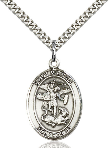 """Sterling Silver St. Michael Pendant on a 24"""" Light Rhodium Heavy Curb Endless Chain"""