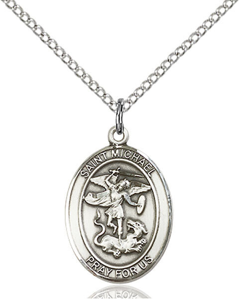 "Sterling Silver St. Michael Pendant on an 18"" Light Rhodium Curb Chain with a Clasp"
