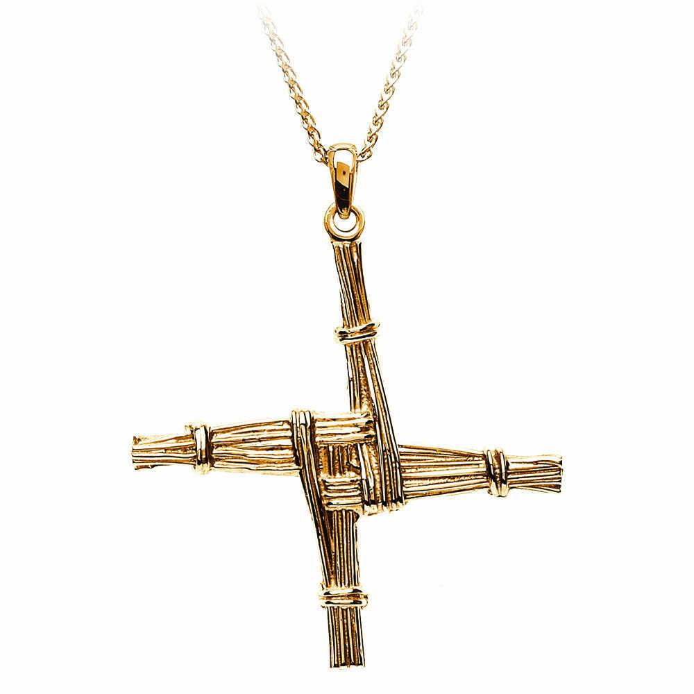 "10kt Gold St. Bridgets Cross- Medium and 10kt Gold 18"" Chain"