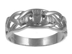 Mens Sterling Silver Celtic Claddagh Ring