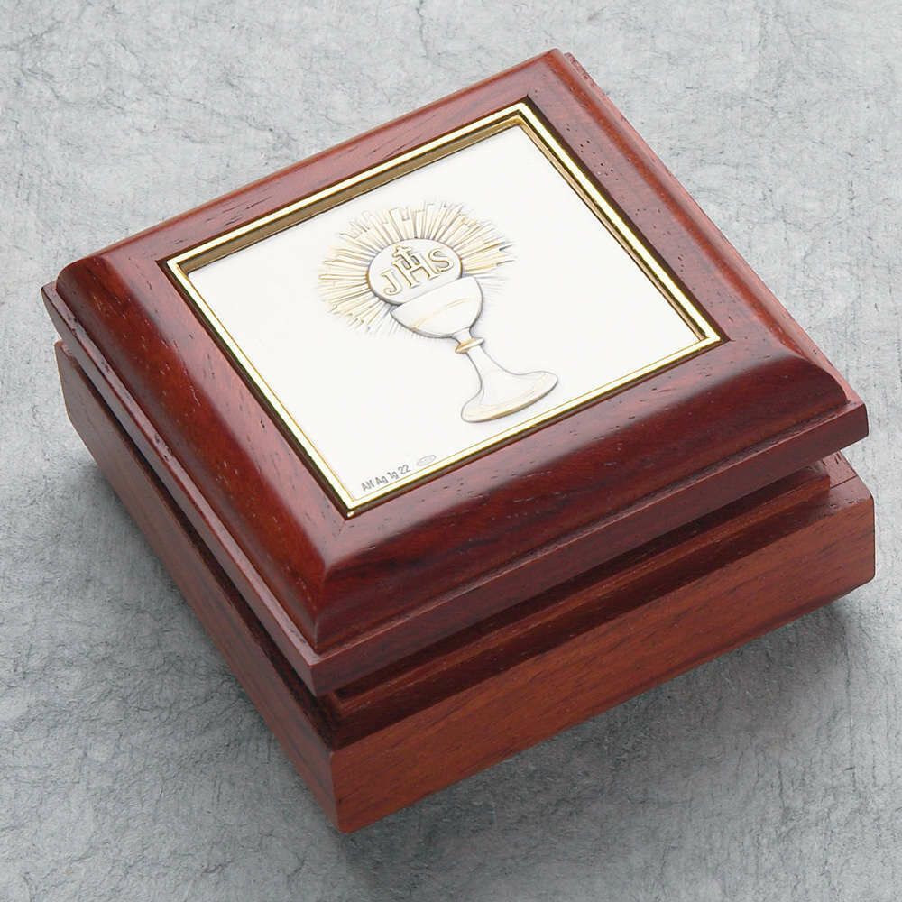 First Holy Communion Rosewood Rosary Box with Chalice