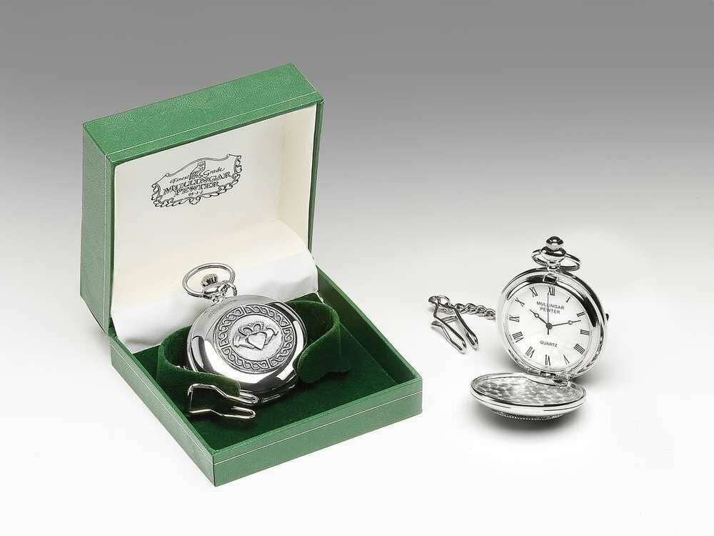 Mullingar Pewter Pocket Watch Claddagh Design