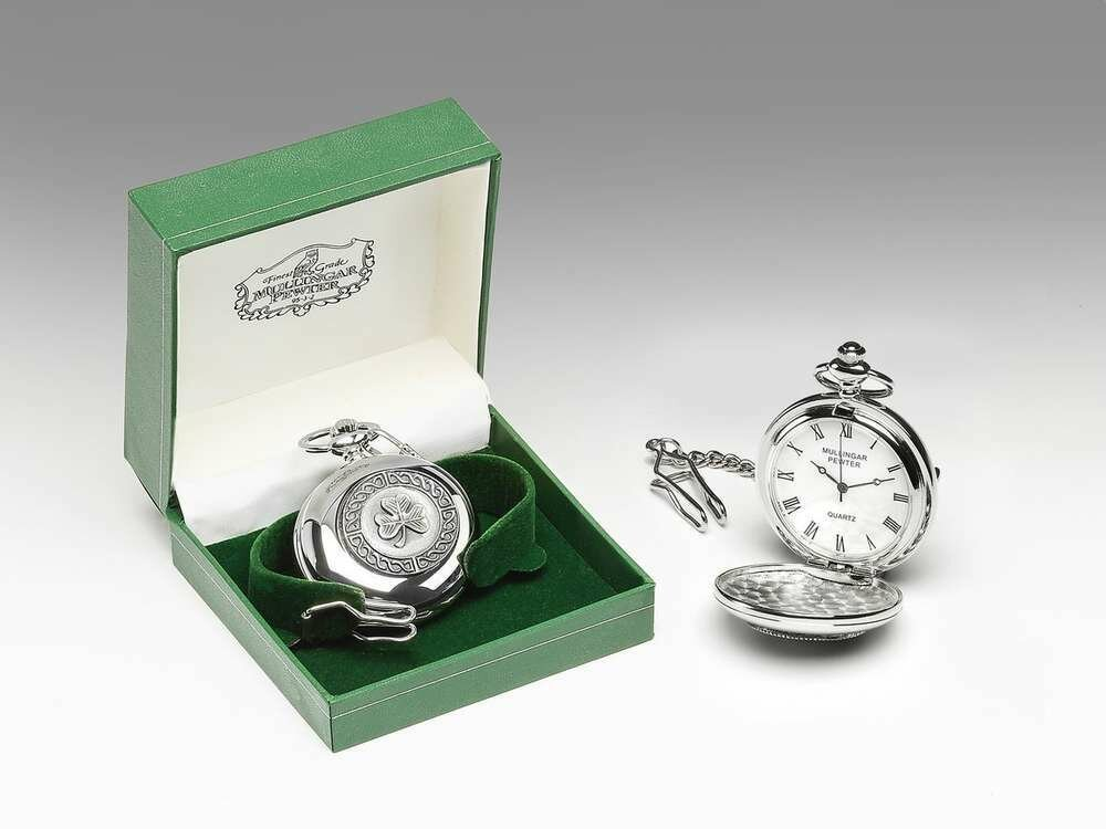 Mullingar Pewter Pocket Watch Shamrock Design