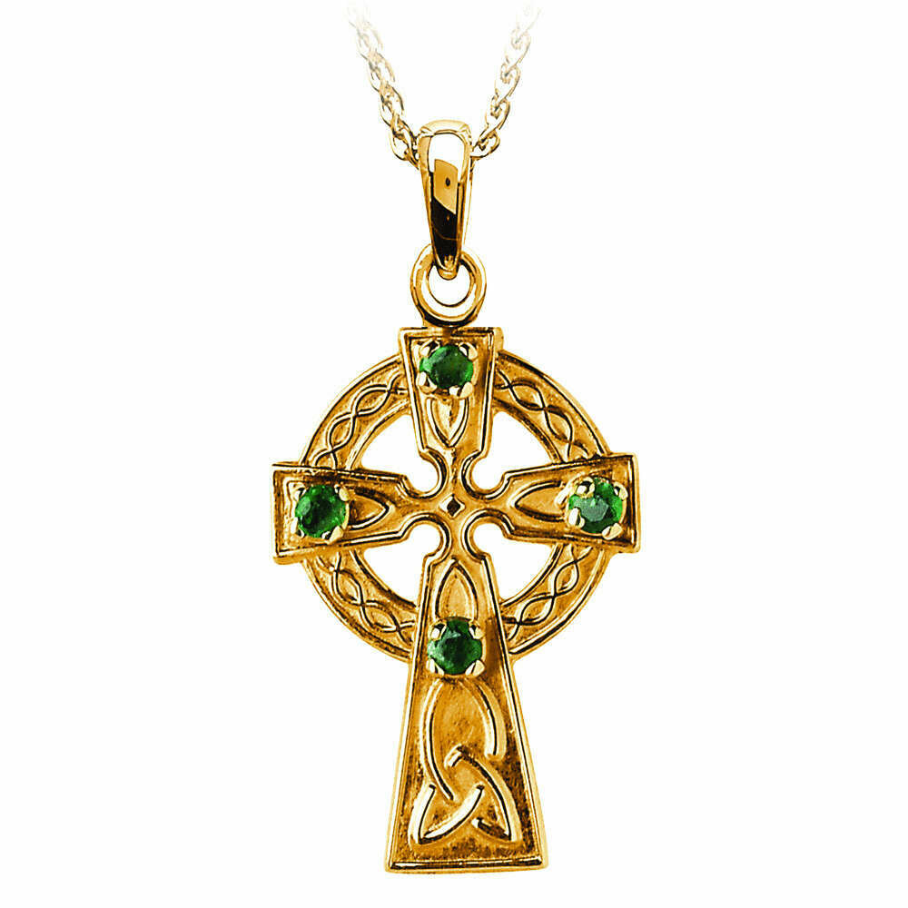 """10kt Yellow Gold Traditional Celtic Cross with 4 Emeralds, and 10kt 18"""" Chain"""