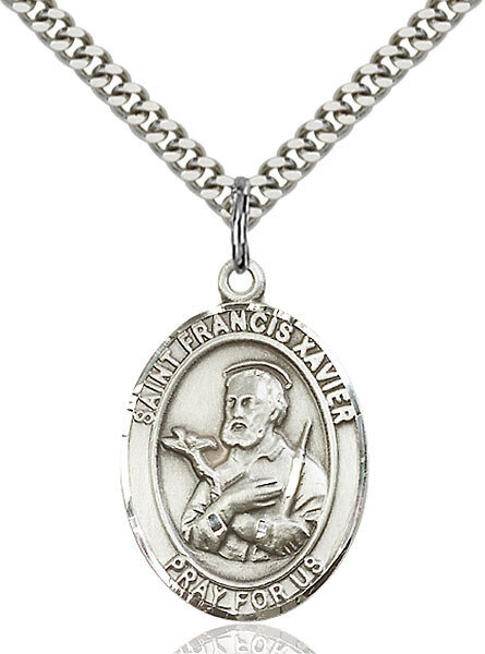 """Sterling Silver St. Francis Xavier Pendant on a 24"""" Light Rhodium Heavy Curb Endless Chain"""