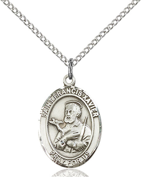 "Sterling Silver St. Francis Xavier Pendant on an 18"" Light Rhodium Curb Chain with a Clasp"