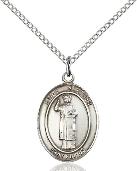 "Sterling Silver St. Stephen the Martyr Pendant on an 18"" Light Rhodium Curb Chain with a Clasp"