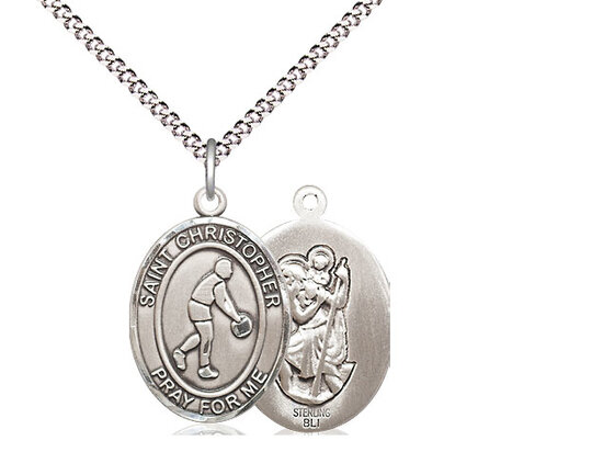 """Sterling Silver St. Christopher Basketball Sports Medal on a 18"""" Light Rhodium Chain"""