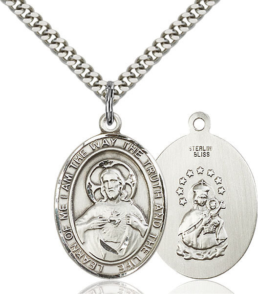 """Sterling Silver Scapular Pendant on a 24"""" Light Rhodium Heavy Curb Endless Chain"""